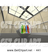 3d Clip Art of a Group of Diverse People in a Television Screen in a Futuristic Room by 3poD
