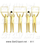 3d Clip Art of a Group of Five Gold People Holding up Blank Boxes and Dots for a Domain Name to Be Entered by 3poD