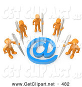 3d Clip Art of a Group of Five Orange People Holding Large Pens, Surrounding a Blue at Symbol by 3poD