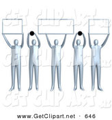 3d Clip Art of a Group of Five Silver People Holding up Blank Boxes and Dots for a Domain Name to Be Entered by 3poD