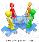 3d Clip Art of a Group of Four Diverse Diffferent Colored People Standing on Blue Puzzle Pieces and Holding Their Voting Ballots in Envelopes While Looking down at a Ballot Box on White by 3poD