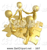 3d Clip Art of a Group of Four Gold People Holding Hands While Standing on Connected Gold Puzzle Pieces, Symbolizing Teamwork, and Interlinking for Seo Website Marketing by 3poD