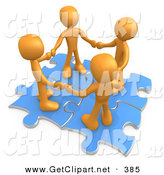 3d Clip Art of a Group of Four Orange People Holding Hands While Standing on Connected Blue Puzzle Pieces on White by 3poD