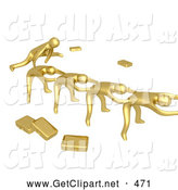 3d Clip Art of a Group of Gold Businessmen Playing Leapfrog with Their Briefcases Tossed Aside, Symbolizing Teamwork by 3poD