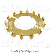3d Clip Art of a Group of Golden People Seated and Holding a Meeting at a Large Golden Conference Table by 3poD