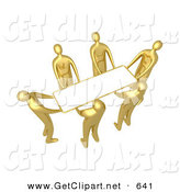 3d Clip Art of a Group of Golden People Working Together to Lift a Blank White Sign Which Is Ready for an Advertisement by 3poD
