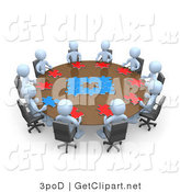 3d Clip Art of a Group of Light Blue People Holding a Meeting and Trying to Solve a Jigsaw Around a Large Circular Conference Table in an Office by 3poD