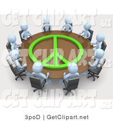 3d Clip Art of a Group of Light Blue People Holding a Meeting at a Large Rectangular Conference Table with a Lime Green Peace Symbol on It in an Office by 3poD