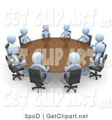 3d Clip Art of a Group of Light Blue People Sitting Around a Conference Table at a Meeting in an Office by 3poD