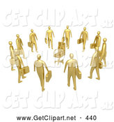 3d Clip Art of a Group of Many Gold Businessmen Standing in a Circle Around a Chair, Symbolizing Job Opportunities and Advancement by 3poD