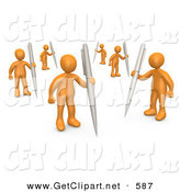 3d Clip Art of a Group of Many Orange People Holding Their Own Pens As a Metaphor for Writing in a Community Forum by 3poD