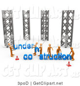 3d Clip Art of a Group of Orange Men Working Together to Build a New Website That Is Under Construction by 3poD