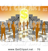 June 4th, 2013: 3d Clip Art of a Group of Orange People Carrying Briefcases Towards an Entrance Framed by Ascending Bar Graph Charts with a Dollar Symbol Shining like the Sun by 3poD