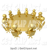 3d Clip Art of a Group of Ten Gold People Seated and Holding a Meeting at a Round Golden Conference Table by 3poD