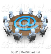 3d Clip Art of a Group of Ten Light Blue People Holding a Meeting About Communicationas at a Large Conference Table with a Blue at Symbol in an Office by 3poD