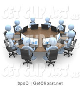 3d Clip Art of a Group of Ten Light Blue People, Students or Employees During a Training Class, Using Laptop Computers to View Charts and Graphs While Seated Around a Conference Table by 3poD