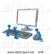 3d Clip Art of a Group of Three Blue Men at a Computer Keyboard and Looking up at a Flat Screen Lcd Monitor Screen While One Person Operates the Mouse by 3poD