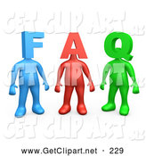 3d Clip Art of a Group of Three Colorful People Figures, One Blue, One Red and One Green, with Heads in the Shape of Letters, Reading FAQ by 3poD