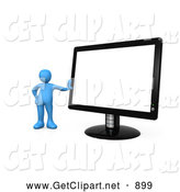 3d Clip Art of a Happy Blue Person Leaning Against a Black Flat LCD Computer Screen Monitor by 3poD