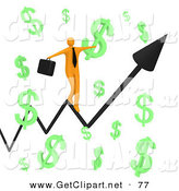 3d Clip Art of a Happy Orange Businessman Carrying a Briefcase and Balancing on an Increasing Black Arrow of a Graph Through Floating Green Dollar Symbols on White by 3poD