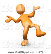 3d Clip Art of a Happy Orange Person Doing a Dance over White by 3poD