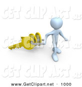 3d Clip Art of a Happy White Figure Pulling a Large Keyring with Three Golden Keys on It, Symbolizing a New Homeowner or Security by 3poD