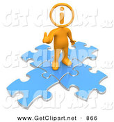 3d Clip Art of a Helpful Orange Man with an I Inside His Circle Head, Standing on Top of Blue Puzzle Pieces, Symbolizing Information and Technical Support by 3poD