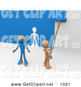 3d Clip Art of a Helpful Person Using a Roller to Apply Blue Paint to a White Wall and Accidentally Painting a Friend, Leaving a White Outline on the Wall by 3poD