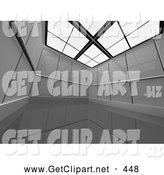 3d Clip Art of a Large, Empty and Open Futuristic Office Cubicle Suite by 3poD