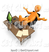 3d Clip Art of a Lazy Orange Employee or Manager Ignoring Paperwork While Leaning Back in Their Chair at a Computer Desk, with Their Feet up on the Table Top by 3poD