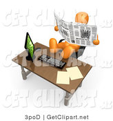 3d Clip Art of a Lazy Orange Employee or Manager Slacking While Leaning Back in Their Chair with Their Feet up on a Computer Desk, and Reading the News Instead of Working by 3poD