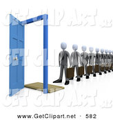 3d Clip Art of a Line of Businessmen Carrying Briefcases, Standing in Front of an Open Blue Door, Symbolizing Job Applicants or Great Job Opportunities and Advancement on White by 3poD