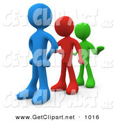 3d Clip Art of a Line of Three Different Colored People Getting Impatient and Tired of Waiting by 3poD