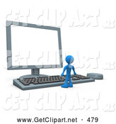 3d Clip Art of a Little Blue Man Facing a Giant Computer Keyboard and Looking up at a Flat Screen Lcd Monitor Screen by 3poD