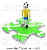 3d Clip Art of a Lone Soccer Player Man with a Ball As a Head, Standing on a Green Puzzle Piece with Part of a Field, Symbolizing Only Part of a Team by 3poD