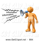 3d Clip Art of a Loud Orange Person Shouting Information Through a Megaphone by 3poD