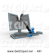 3d Clip Art of a Mad Blue Person Breaking a Flat Screen Computer Monitor with a Hammer by 3poD