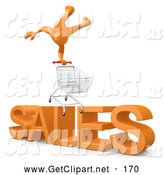 "3d Clip Art of a Man Balancing on a Shopping Cart over Big Orange Text Reading ""SALES"" by 3poD"