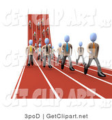 3d Clip Art of a Mass of Competitive Businessmen Running Downhill and Forward on Lanes of a Track While Racing for a Job Opportunity by 3poD