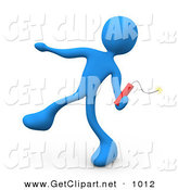 3d Clip Art of a Mean Blue Man Throwing an Ignited Stick of Red Tnt Dynamite by 3poD