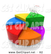 3d Clip Art of a Metal Shopping Cart on Top of the Highest Piece of a Colorful Pie Chart by 3poD