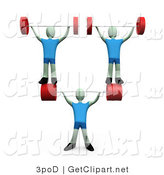 3d Clip Art of a Muscular Man Lifting Heavy Barbell Weights and Two Other Weightlifters over His Head in a Fitness Gym by 3poD