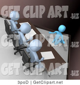 3d Clip Art of a Nervous and Scared Blue Employee Person Kneeling and Begging While Being Reviewed or Intereviewed by a Panel of Judges or Bosses by 3poD