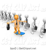 3d Clip Art of a Orange Boss and Line of Employees by 3poD