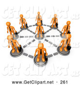 3d Clip Art of a Orange Business Men in a Network Circle by 3poD