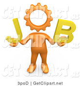 3d Clip Art of a Orange Cog Headed Person Holding up Letters That Spell out Job by 3poD