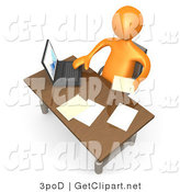 3d Clip Art of a Orange Employee Man Seated at a Wooden Desk and Using a Laptop While Doing Paperwork at the Office by 3poD