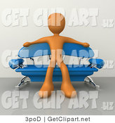 3d Clip Art of a Orange Male Figure Sitting with His Arms out on the Back of a Modern Blue Couch with Chrome Supports in a Living Room or Waiting in an Office Lobby by 3poD