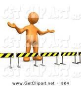 3d Clip Art of a Orange Man Stuck Behind Caution Signs, Not Sure Where to Go on White by 3poD
