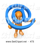3d Clip Art of a Orange Person Holding a Blue at Email Symbol with His Head Peeking Through the Center by 3poD